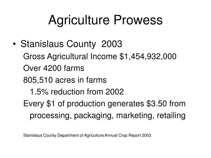Agriculture prowess