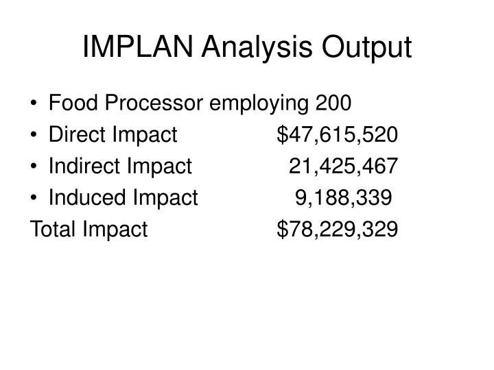 IMPLAN Analysis Output
