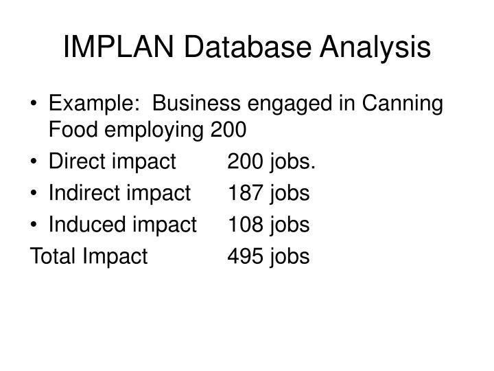 IMPLAN Database Analysis
