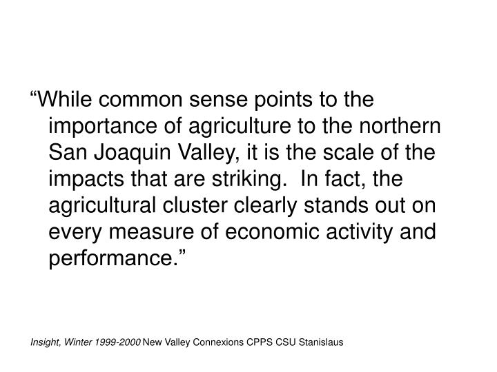 """""""While common sense points to the importance of agriculture to the northern San Joaquin Valley, it is the scale of the impacts that are striking.  In fact, the agricultural cluster clearly stands out on every measure of economic activity and performance."""""""