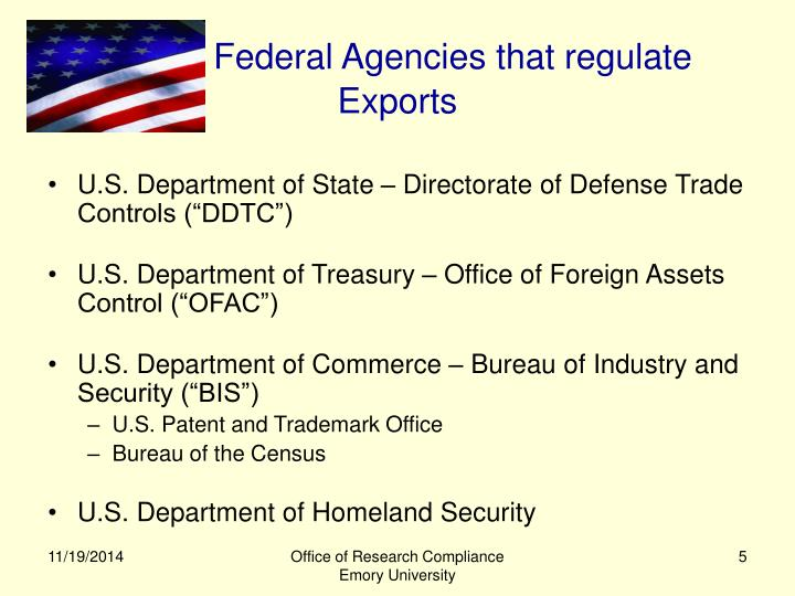 Federal Agencies that regulate Exports