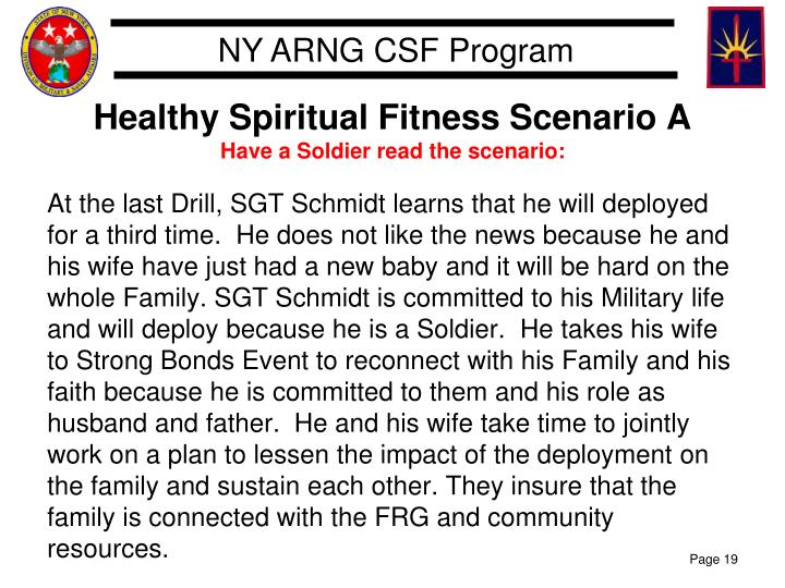 Healthy Spiritual Fitness Scenario A