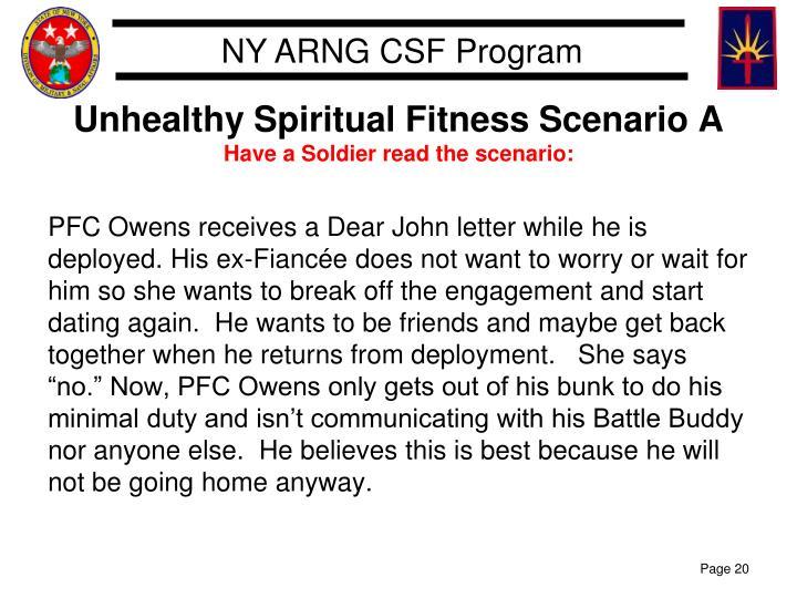 Unhealthy Spiritual Fitness Scenario A