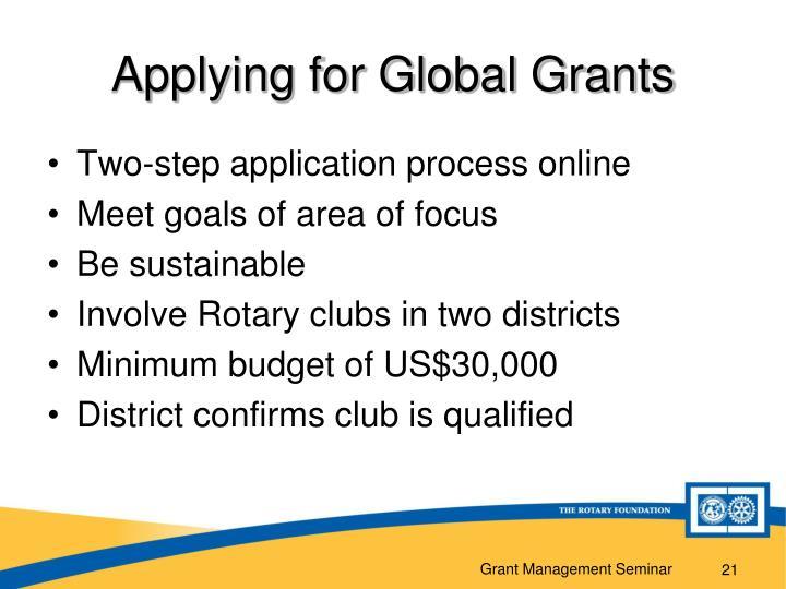 Applying for Global Grants