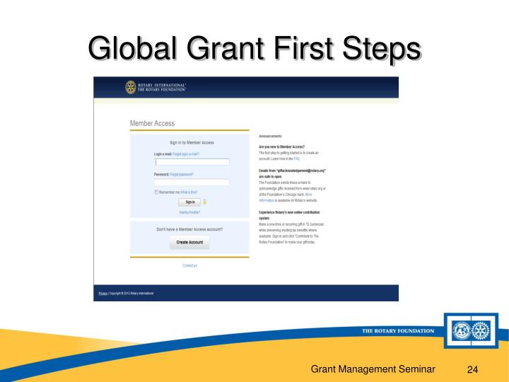 Global Grant First Steps