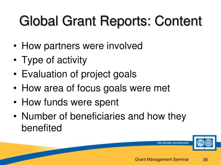 Global Grant Reports: Content
