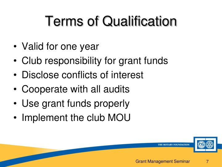 Terms of Qualification