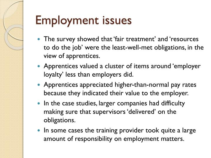 employment issues Labor and employment law: a career guide   some of the most current and controversial issues in labor and employment law involve collective bargaining.