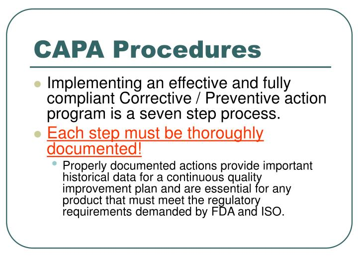 ppt corrective and preventive actions capa rmbimedical rh slideserve com Preventive Action Request Form Capa Corrective and Preventive Actions