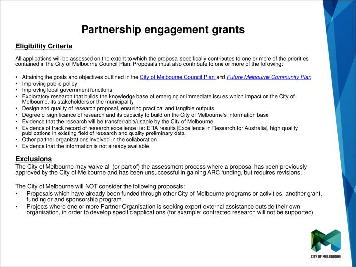 Partnership engagement grants1