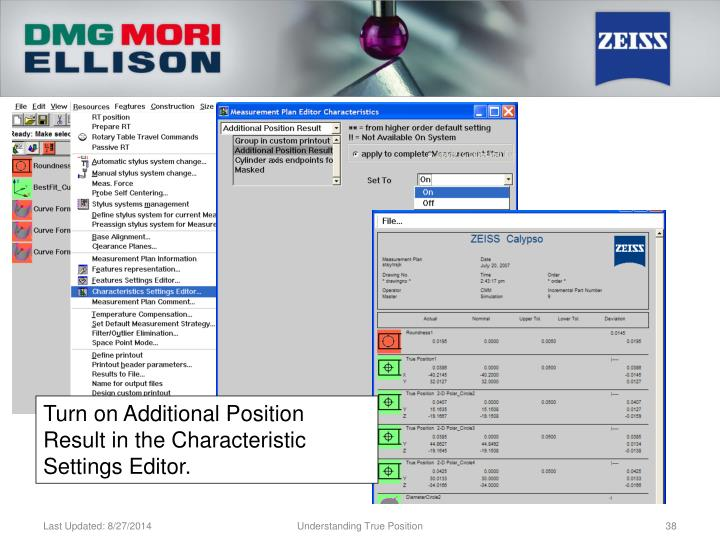 Turn on Additional Position Result in the Characteristic Settings Editor.