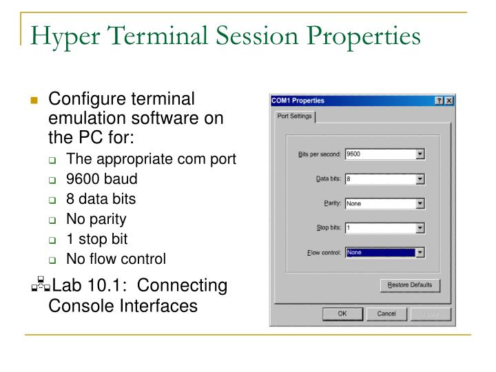 Hyper Terminal Session Properties