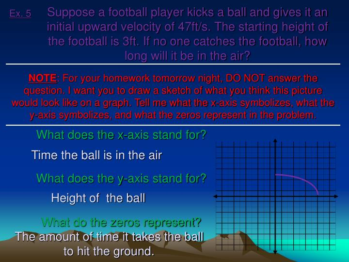 Suppose a football player kicks a ball and gives it an initial upward velocity of 47ft/s. The starting height of the football is 3ft. If no one catches the football, how long will it be in the air?