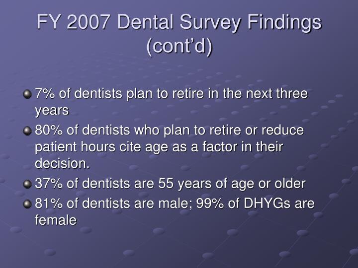 FY 2007 Dental Survey Findings (cont'd)