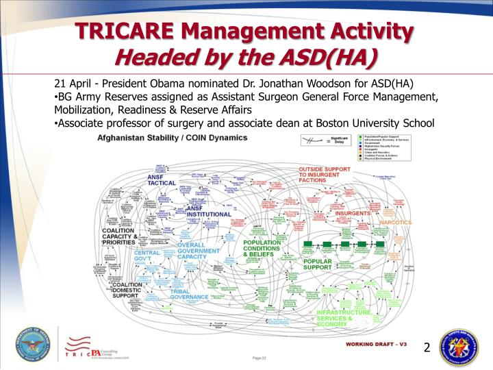 Tricare management activity headed by the asd ha