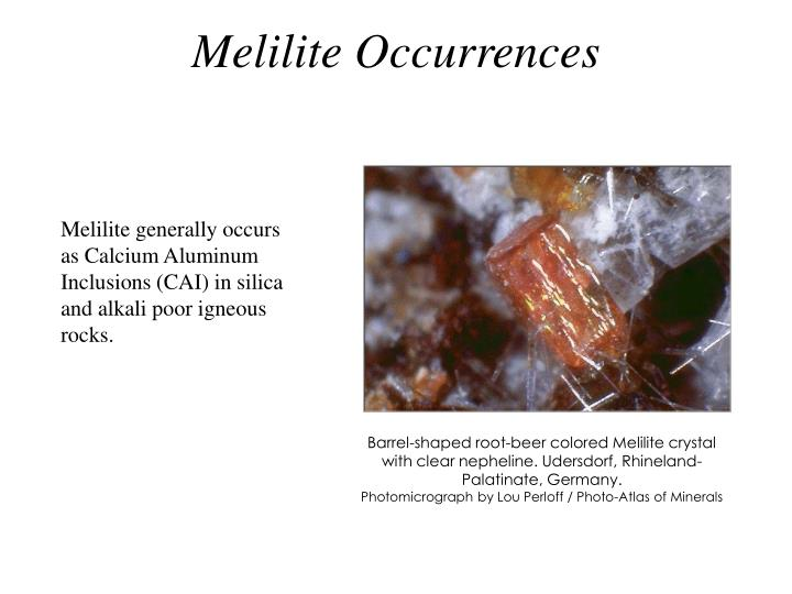 Melilite occurrences