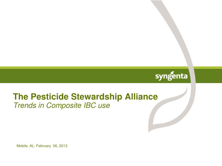 the pesticide stewardship alliance trends in composite ibc use n.