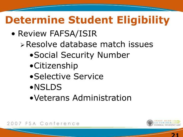 Determine Student Eligibility