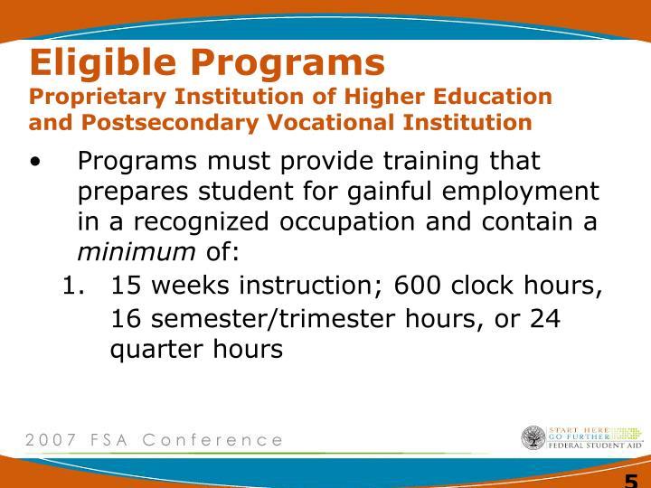 Eligible Programs
