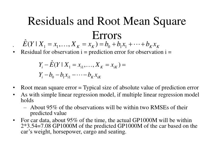 Residuals and Root Mean Square Errors
