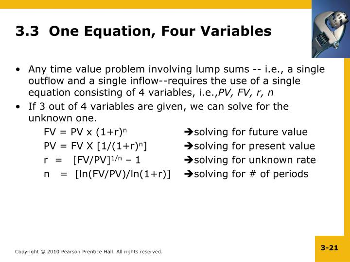 3.3  One Equation, Four Variables