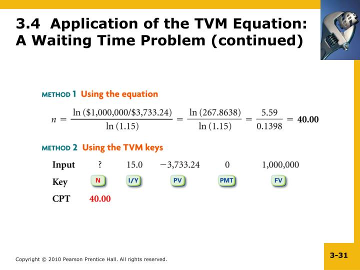 3.4  Application of the TVM Equation: A Waiting Time Problem (continued)
