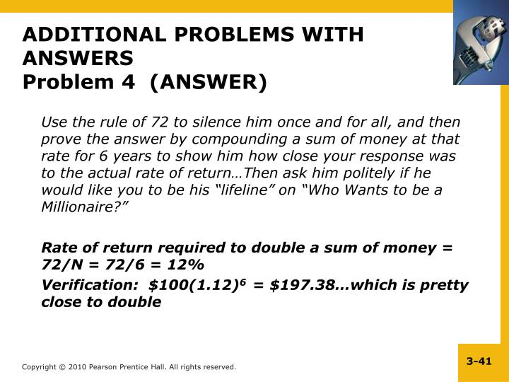 ADDITIONAL PROBLEMS WITH ANSWERS
