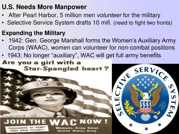 U s needs more manpower