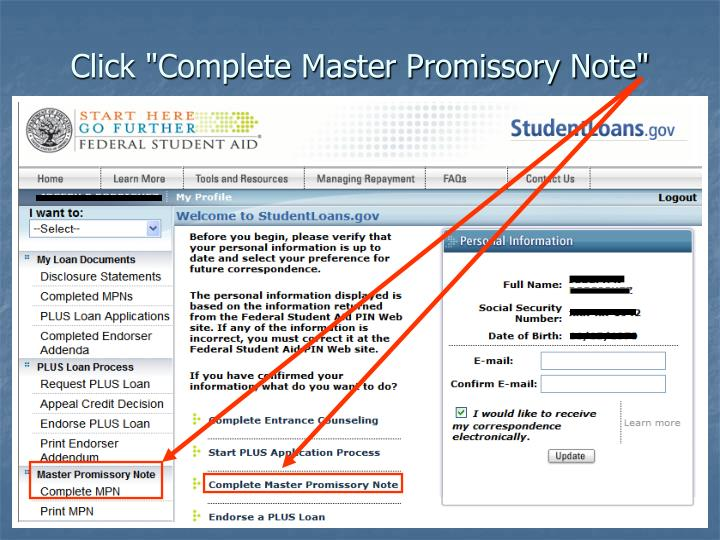 """Click """"Complete Master Promissory Note"""""""