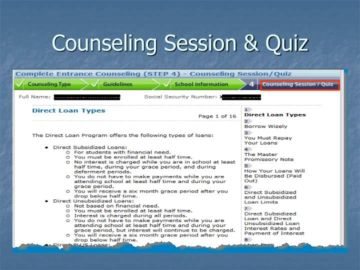 Counseling Session & Quiz