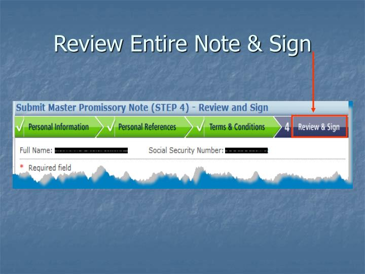 Review Entire Note & Sign