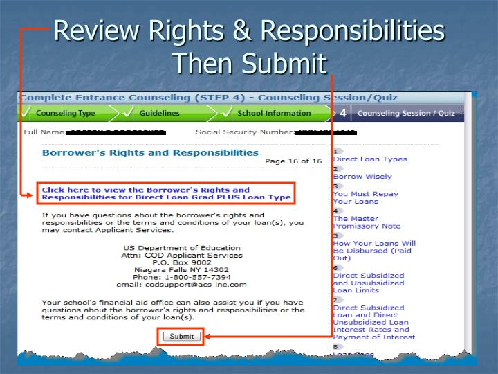Review Rights & Responsibilities Then Submit