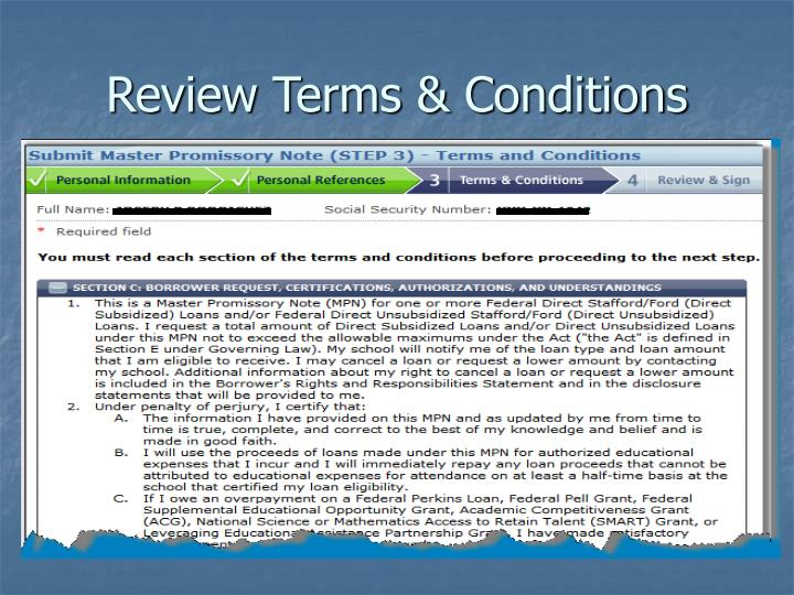 Review Terms & Conditions