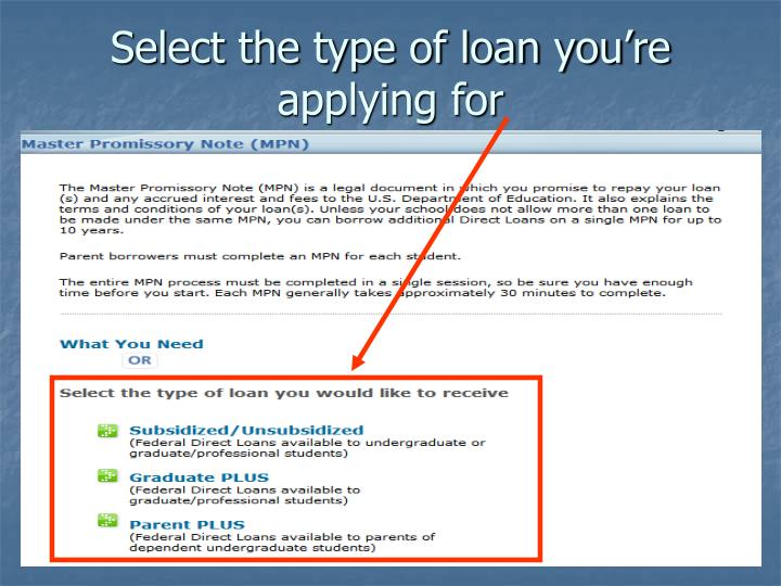Select the type of loan you're applying for