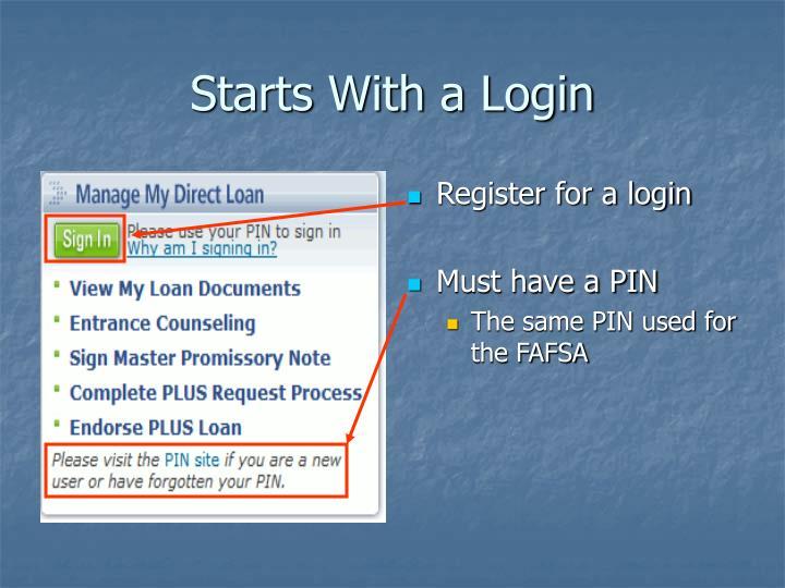 Register for a login