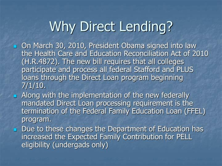 Why direct lending