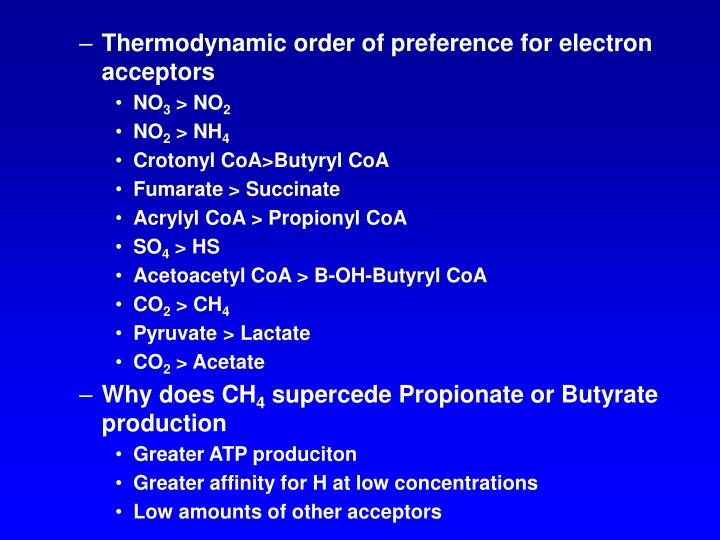 Thermodynamic order of preference for electron acceptors