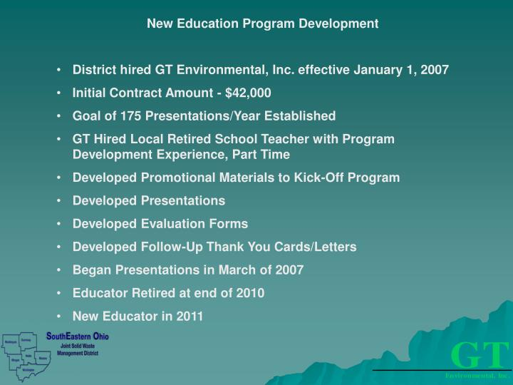New Education Program Development