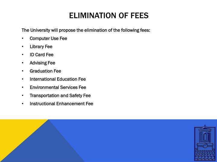 Elimination of fees
