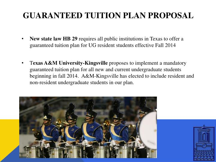 Guaranteed tuition plan proposal