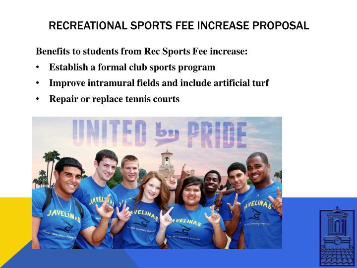 Recreational sports fee increase proposal