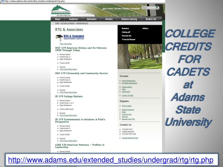 College credits for cadets at adams state university
