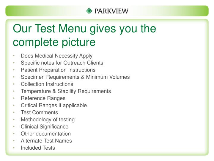 Our Test Menu gives you the complete picture