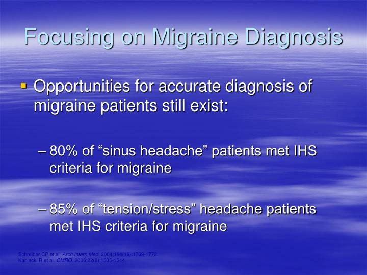 Focusing on Migraine Diagnosis
