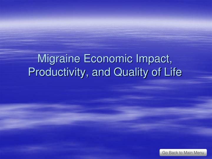 Migraine Economic Impact, Productivity, and Quality of Life