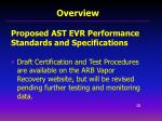proposed ast evr performance standards and specifications