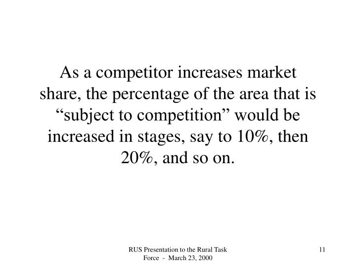 "As a competitor increases market share, the percentage of the area that is ""subject to competition"" would be increased in stages, say to 10%, then 20%, and so on."