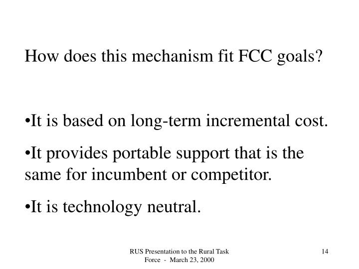 How does this mechanism fit FCC goals?