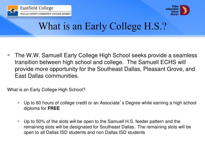 What is an early college h s