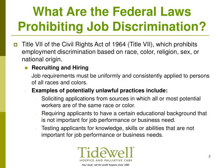 What are the federal laws prohibiting job discrimination